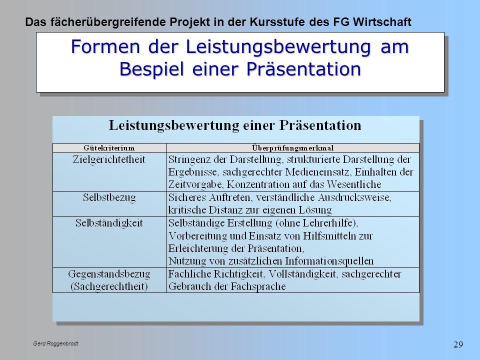 Das fächerübergreifende Projekt in der Kursstufe des FG Wirtschaft Gerd Roggenbrodt 29 Formen der Leistungsbewertung am Bespiel einer Präsentation