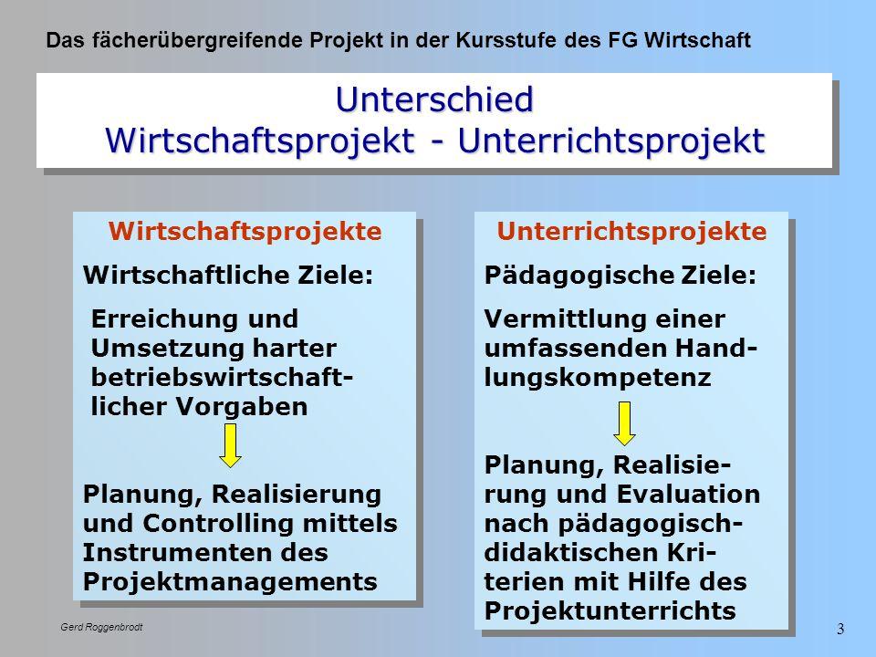 Das fächerübergreifende Projekt in der Kursstufe des FG Wirtschaft Gerd Roggenbrodt 3 Unterschied Wirtschaftsprojekt - Unterrichtsprojekt Wirtschaftsp
