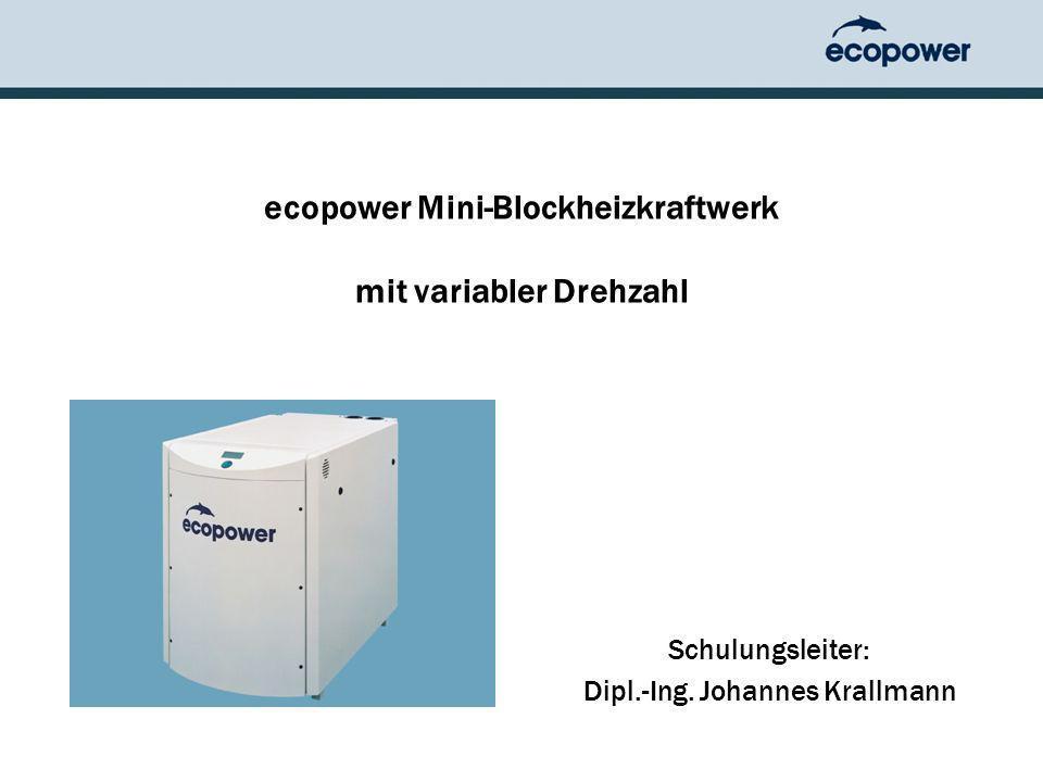 ecopower Mini-Blockheizkraftwerk mit variabler Drehzahl Schulungsleiter: Dipl.-Ing.