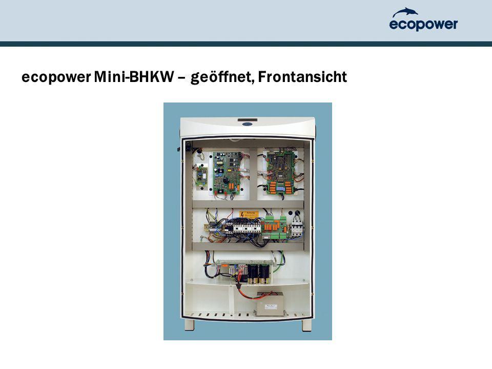 ecopower Mini-BHKW – geöffnet, Frontansicht