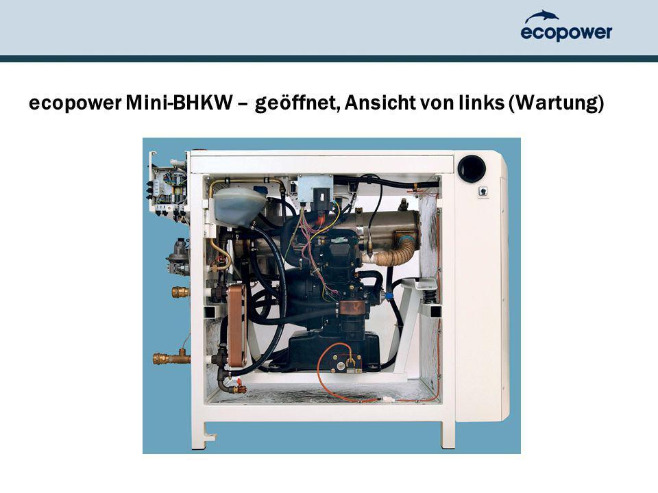 ecopower Mini-BHKW – geöffnet, Ansicht von links (Wartung)