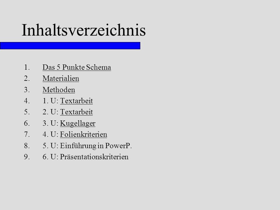 Inhaltsverzeichnis 1.Das 5 Punkte SchemaDas 5 Punkte Schema 2.MaterialienMaterialien 3.MethodenMethoden 4.1. U: TextarbeitTextarbeit 5.2. U: Textarbei