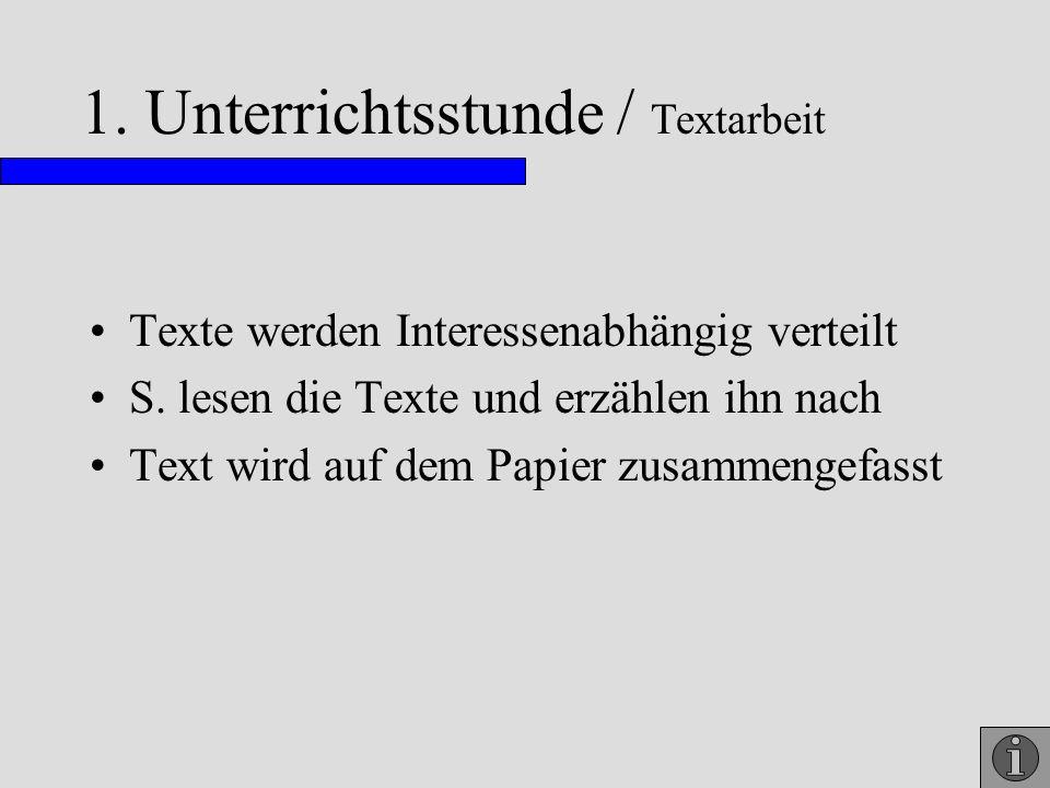 1. Unterrichtsstunde / Textarbeit Texte werden Interessenabhängig verteilt S. lesen die Texte und erzählen ihn nach Text wird auf dem Papier zusammeng