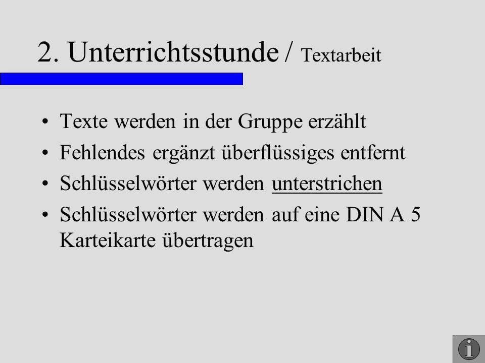2. Unterrichtsstunde / Textarbeit Texte werden in der Gruppe erzählt Fehlendes ergänzt überflüssiges entfernt Schlüsselwörter werden unterstrichen Sch