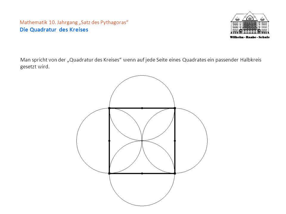 Mathematik 10. Jahrgang Satz des Pythagoras Die Quadratur des Kreises Man spricht von der Quadratur des Kreises wenn auf jede Seite eines Quadrates ei