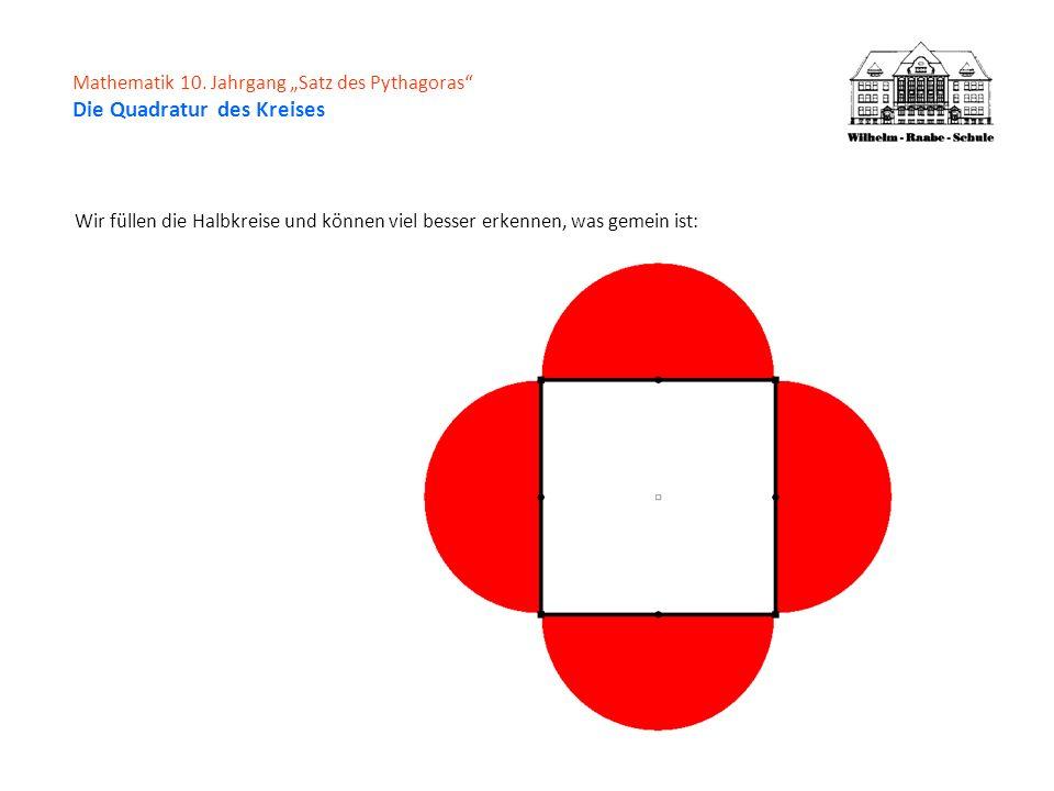Mathematik 10. Jahrgang Satz des Pythagoras Die Quadratur des Kreises Wir füllen die Halbkreise und können viel besser erkennen, was gemein ist: