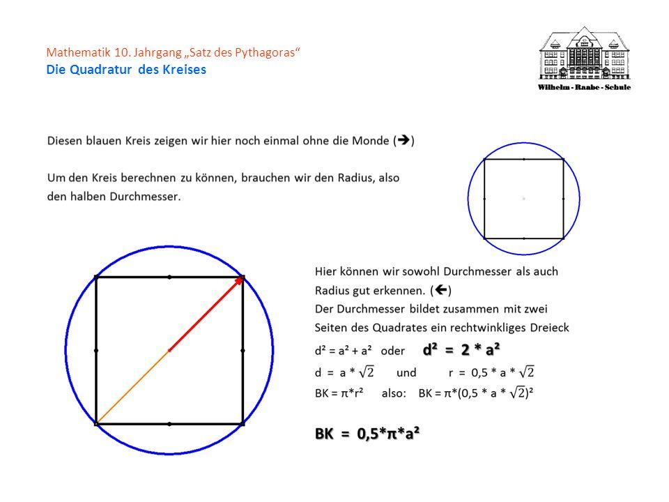 Zurück zur vorletzten Folie: M = HK - (BLAUER KREIS - Q) Q = a² HK = 0,5 * π * a² BK = 0,5 * π * a² M = 0,5 * π * a² - (0,5 * π * a² - a²) Auflösen der KlammerM = 0,5 * π * a² - 0,5 * π * a² + a² Führt sofort zum ErgebnisM = a² In WortenDie Fläche der vier Monde ist genauso groß wie die Fläche des Quadrats.