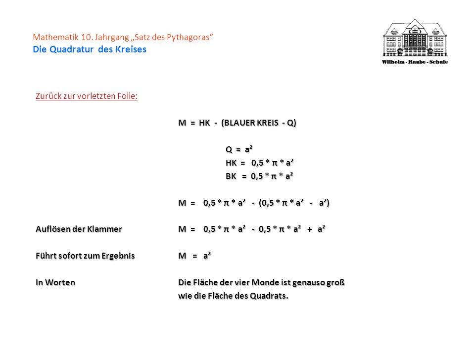 Zurück zur vorletzten Folie: M = HK - (BLAUER KREIS - Q) Q = a² HK = 0,5 * π * a² BK = 0,5 * π * a² M = 0,5 * π * a² - (0,5 * π * a² - a²) Auflösen de