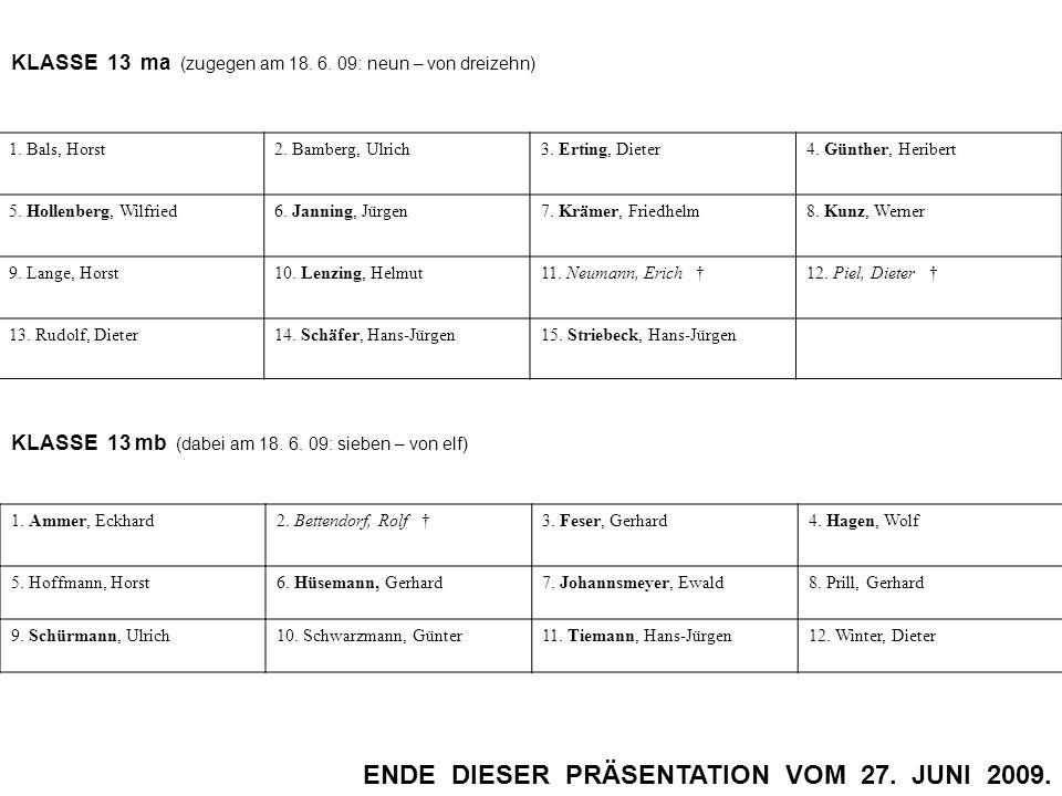 KLASSE 13 ma (zugegen am 18. 6. 09: neun – von dreizehn) 1. Bals, Horst2. Bamberg, Ulrich3. Erting, Dieter4. Günther, Heribert 5. Hollenberg, Wilfried