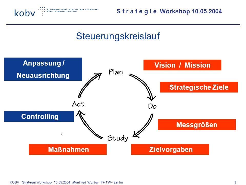 S t r a t e g i e Workshop 10.05.2004 KOBV Strategie Workshop 10.05.2004 Manfred Walter FHTW- Berlin 3 Vision / Mission Strategische Ziele Messgrößen