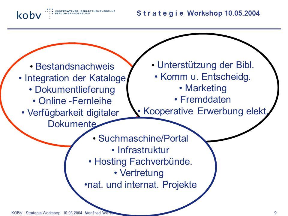 S t r a t e g i e Workshop 10.05.2004 KOBV Strategie Workshop 10.05.2004 Manfred Walter FHTW- Berlin 9 Bestandsnachweis Integration der Kataloge Dokum