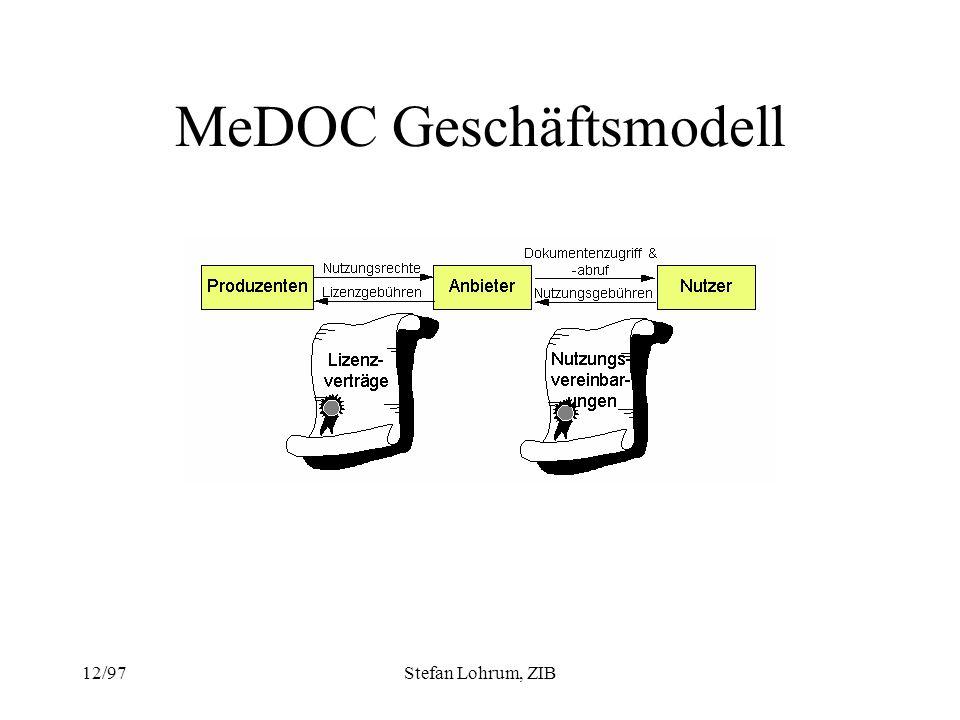 12/97Stefan Lohrum, ZIB MeDOC Geschäftsmodell