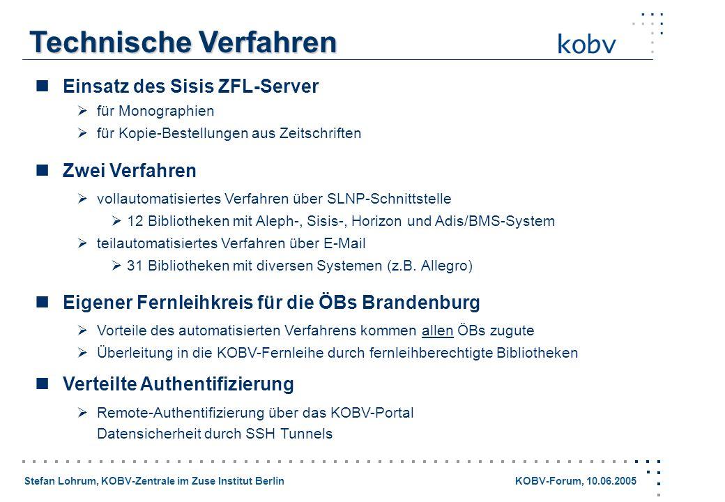 Stefan Lohrum, KOBV-Zentrale im Zuse Institut Berlin KOBV-Forum, 10.06.2005 Technische Verfahren Einsatz des Sisis ZFL-Server für Monographien für Kop