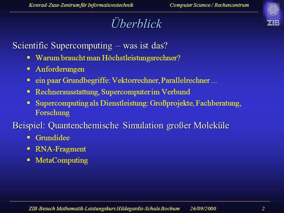 Konrad-Zuse-Zentrum für Informationstechnik Computer Science / Rechenzentrum 26/09/2000ZIB-Besuch Mathematik-Leistungskurs Hildegardis-Schule Bochum23 MetaComputing im Gigabit Testbed (Topologie) CRAY T3E/404 @ ZIB MünchenErlangenBerlin CRAY T3E/816 @ RZG LRZTUBZIB RZG 650 km 700 km HIPPI 800, 800 Mb/s ATM OC12, 622 Mb/s OC48, 3 x 2.4 Gb/s ATM Switch