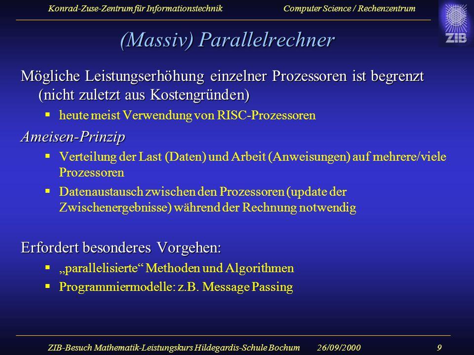 Konrad-Zuse-Zentrum für Informationstechnik Computer Science / Rechenzentrum 26/09/2000ZIB-Besuch Mathematik-Leistungskurs Hildegardis-Schule Bochum10 ZIB Höchstleistungsrechner