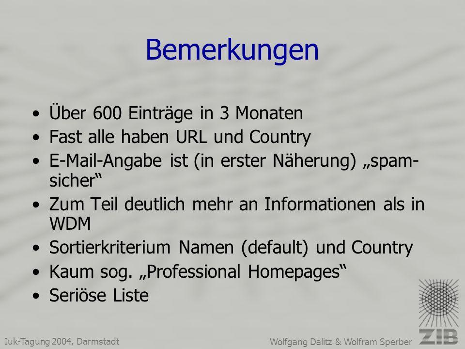 Iuk-Tagung 2004, Darmstadt Wolfgang Dalitz & Wolfram Sperber Bemerkungen Über 600 Einträge in 3 Monaten Fast alle haben URL und Country E-Mail-Angabe ist (in erster Näherung) spam- sicher Zum Teil deutlich mehr an Informationen als in WDM Sortierkriterium Namen (default) und Country Kaum sog.