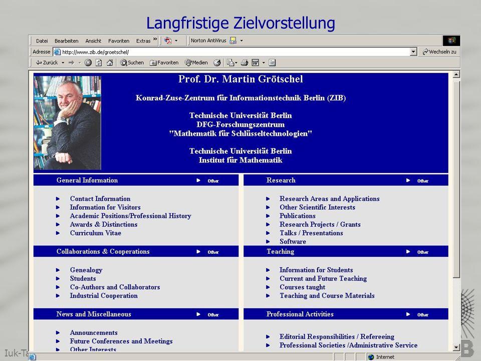 Iuk-Tagung 2004, Darmstadt Wolfgang Dalitz & Wolfram Sperber Langfristige Zielvorstellung