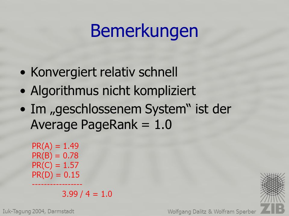 Iuk-Tagung 2004, Darmstadt Wolfgang Dalitz & Wolfram Sperber Bemerkungen Konvergiert relativ schnell Algorithmus nicht kompliziert Im geschlossenem System ist der Average PageRank = 1.0 PR(A) = 1.49 PR(B) = 0.78 PR(C) = 1.57 PR(D) = 0.15 ----------------- 3.99 / 4 = 1.0