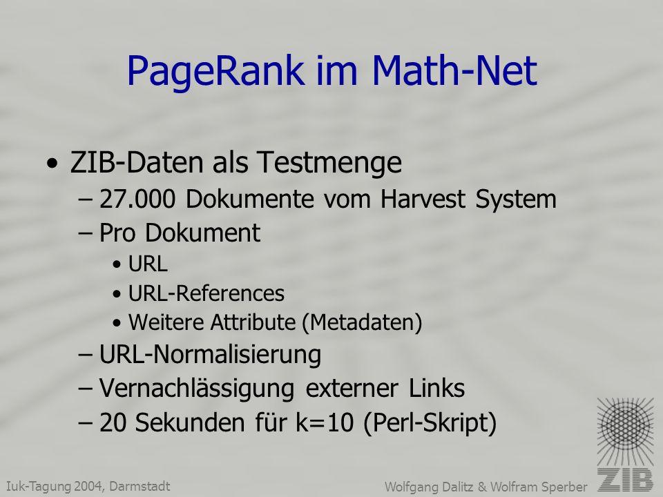 Iuk-Tagung 2004, Darmstadt Wolfgang Dalitz & Wolfram Sperber PageRank im Math-Net ZIB-Daten als Testmenge –27.000 Dokumente vom Harvest System –Pro Dokument URL URL-References Weitere Attribute (Metadaten) –URL-Normalisierung –Vernachlässigung externer Links –20 Sekunden für k=10 (Perl-Skript)