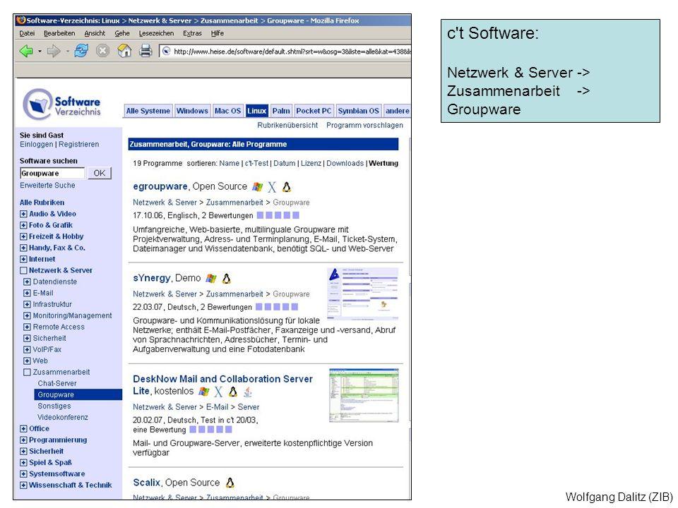 Wolfgang Dalitz (ZIB) c't Software: Netzwerk & Server -> Zusammenarbeit -> Groupware