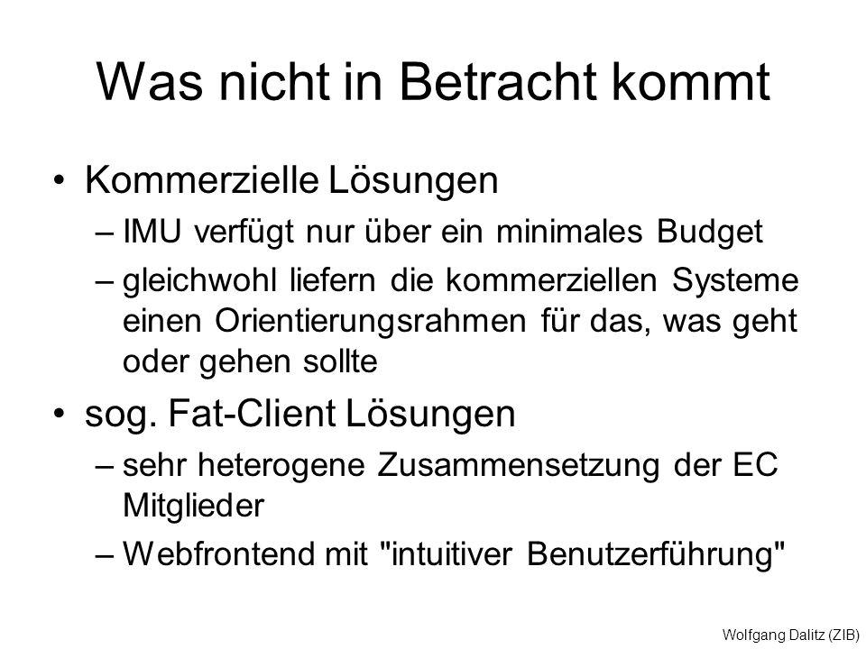 Wolfgang Dalitz (ZIB) Was nicht in Betracht kommt Kommerzielle Lösungen –IMU verfügt nur über ein minimales Budget –gleichwohl liefern die kommerziell