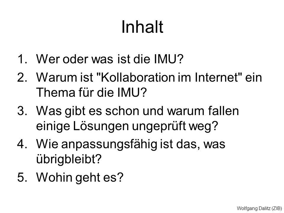 Wolfgang Dalitz (ZIB) Inhalt 1.Wer oder was ist die IMU? 2.Warum ist