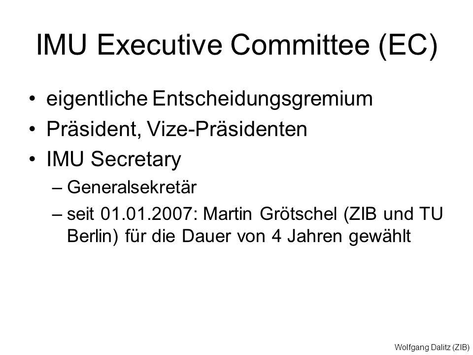 Wolfgang Dalitz (ZIB) IMU Executive Committee (EC) eigentliche Entscheidungsgremium Präsident, Vize-Präsidenten IMU Secretary –Generalsekretär –seit 0