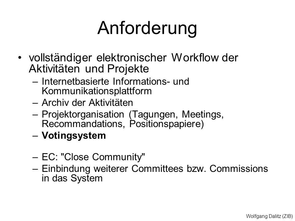 Wolfgang Dalitz (ZIB) Anforderung vollständiger elektronischer Workflow der Aktivitäten und Projekte –Internetbasierte Informations- und Kommunikation