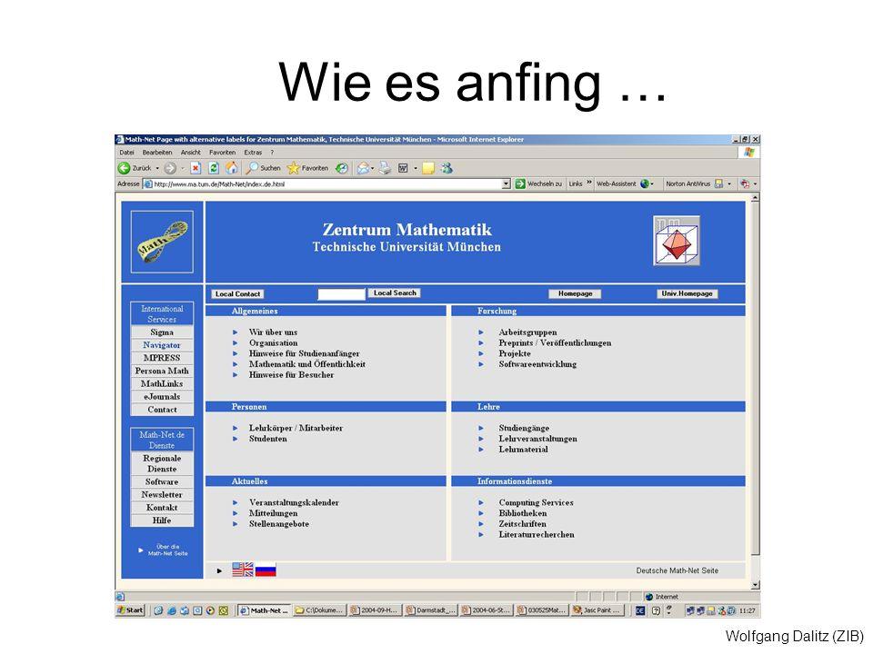 Wolfgang Dalitz (ZIB) Wie es anfing …