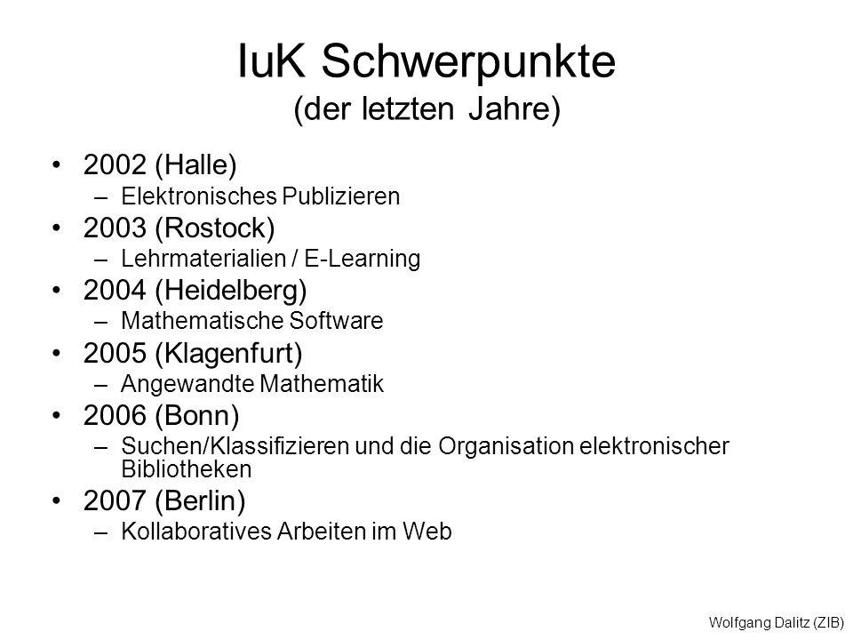 Wolfgang Dalitz (ZIB) IuK Schwerpunkte (der letzten Jahre) 2002 (Halle) –Elektronisches Publizieren 2003 (Rostock) –Lehrmaterialien / E-Learning 2004
