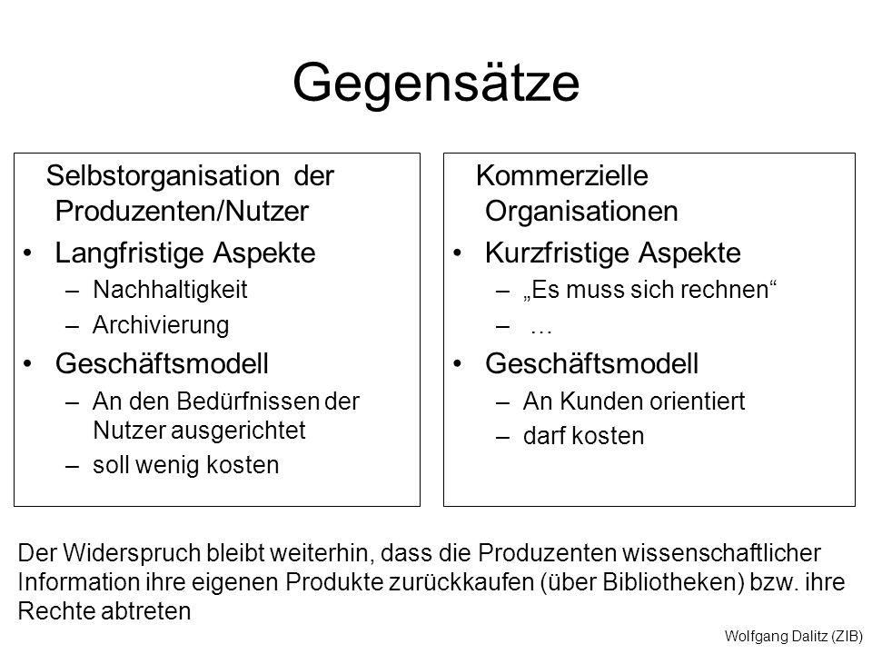 Wolfgang Dalitz (ZIB) Gegensätze Selbstorganisation der Produzenten/Nutzer Langfristige Aspekte –Nachhaltigkeit –Archivierung Geschäftsmodell –An den