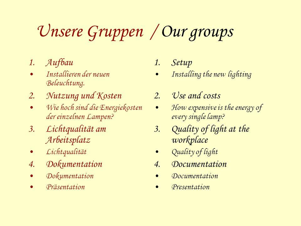 Unsere Gruppen / Our groups 1.Aufbau Installieren der neuen Beleuchtung.