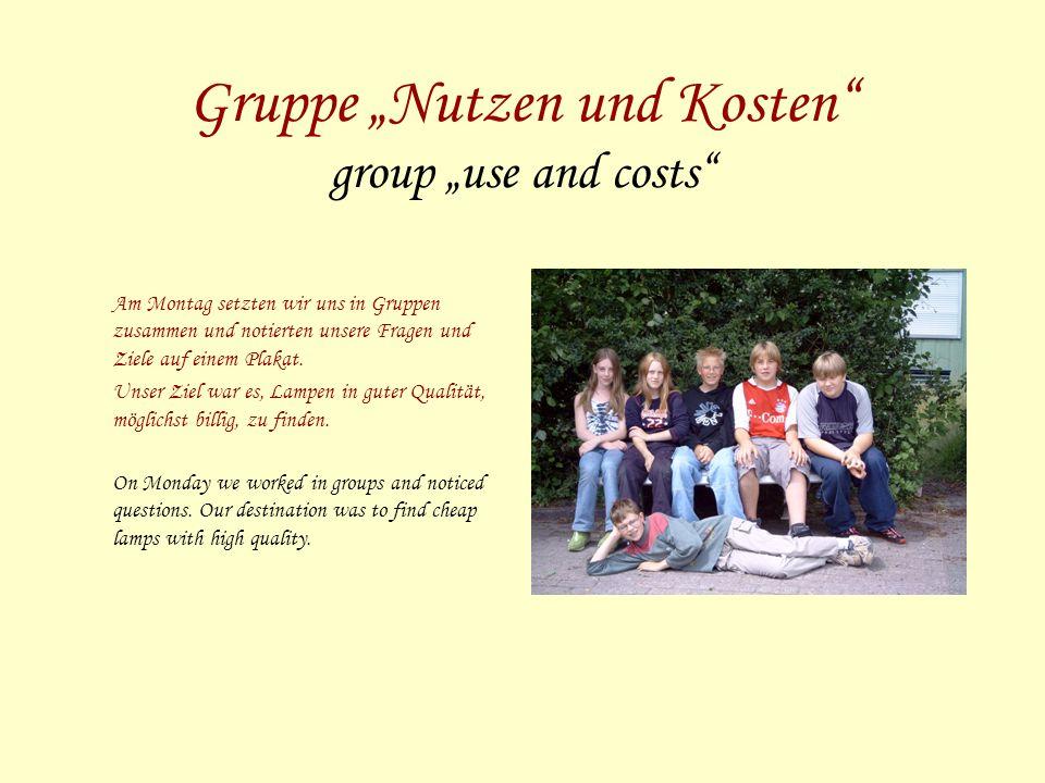 Gruppe Nutzen und Kosten group use and costs Am Montag setzten wir uns in Gruppen zusammen und notierten unsere Fragen und Ziele auf einem Plakat.