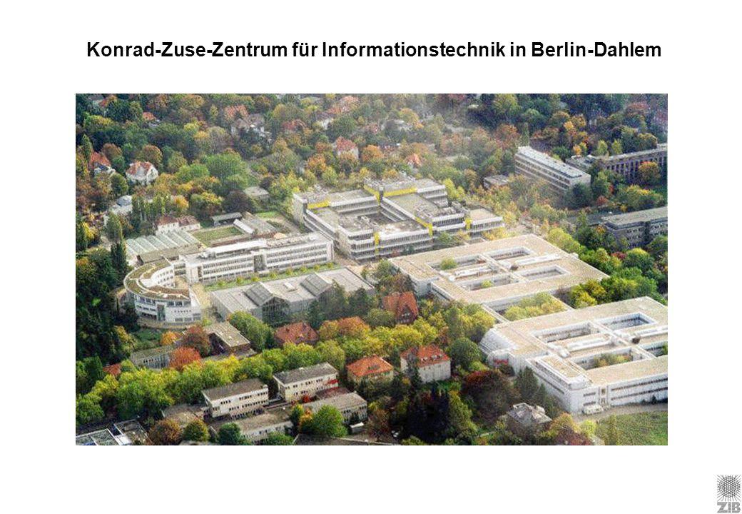 Konrad-Zuse-Zentrum für Informationstechnik Berlin founded in 1984 by the Senate of Berlin: Gesetz über das Zentrum für Informationstechnik (ZInfG) Dual Concept qSC: scientific computing qCS: computer science & computer services ~200 staff members inclusive students and regular guests