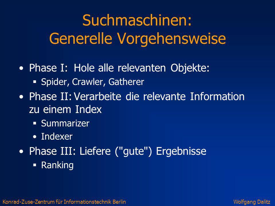 Konrad-Zuse-Zentrum für Informationstechnik BerlinWolfgang Dalitz Suchmaschinen: Generelle Vorgehensweise Phase I: Hole alle relevanten Objekte: Spide