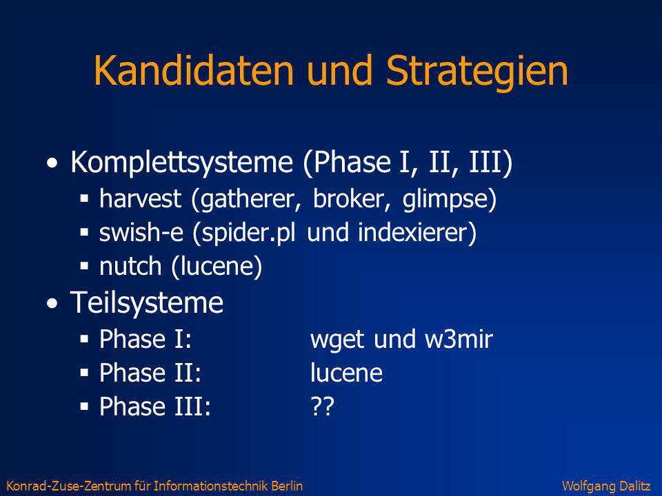 Konrad-Zuse-Zentrum für Informationstechnik BerlinWolfgang Dalitz Kandidaten und Strategien Komplettsysteme (Phase I, II, III) harvest (gatherer, brok