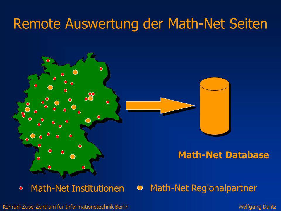 Konrad-Zuse-Zentrum für Informationstechnik BerlinWolfgang Dalitz Remote Auswertung der Math-Net Seiten Math-Net Regionalpartner Math-Net Institutione