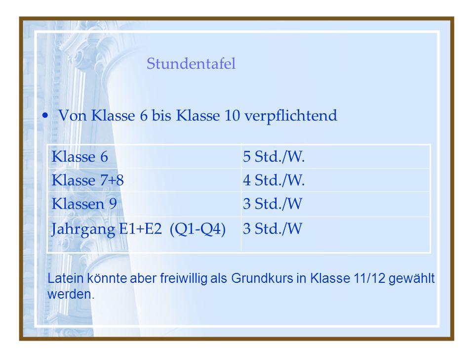 Stundentafel 3 Std./WJahrgang E1+E2 (Q1-Q4) 3 Std./WKlassen 9 4 Std./W.Klasse 7+8 5 Std./W.Klasse 6 Von Klasse 6 bis Klasse 10 verpflichtend Latein könnte aber freiwillig als Grundkurs in Klasse 11/12 gewählt werden.