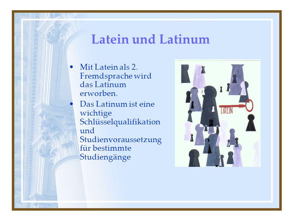 Latein und Latinum Mit Latein als 2.Fremdsprache wird das Latinum erworben.