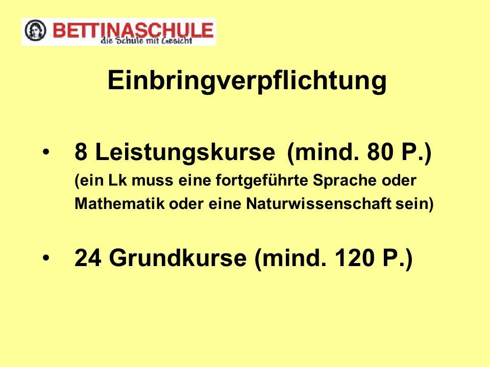 Einbringverpflichtung 8 Leistungskurse (mind. 80 P.) (ein Lk muss eine fortgeführte Sprache oder Mathematik oder eine Naturwissenschaft sein) 24 Grund