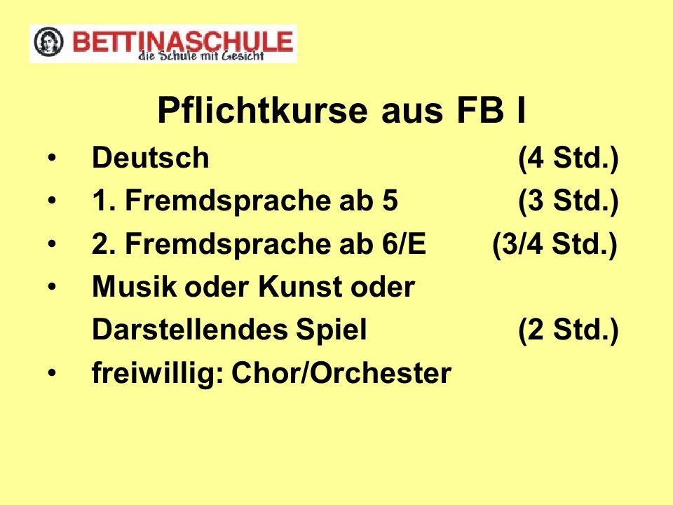 Pflichtkurse aus FB I Deutsch(4 Std.) 1. Fremdsprache ab 5(3 Std.) 2. Fremdsprache ab 6/E (3/4 Std.) Musik oder Kunst oder Darstellendes Spiel(2 Std.)