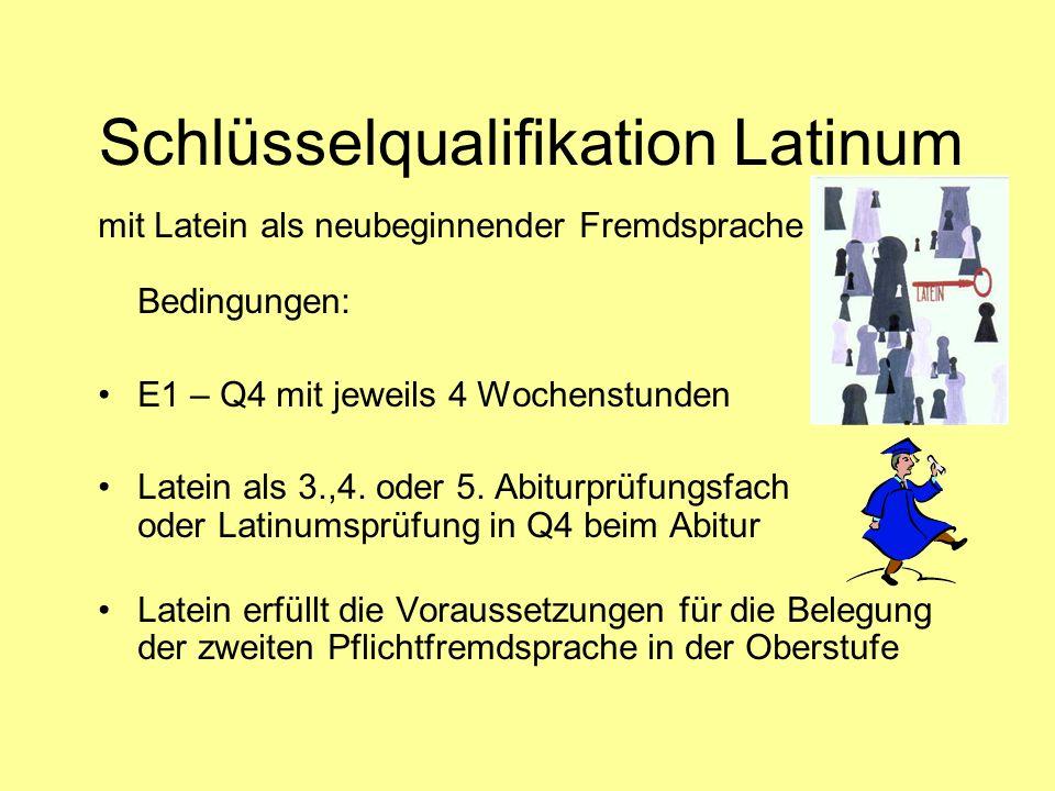 Schlüsselqualifikation Latinum mit Latein als neubeginnender Fremdsprache Bedingungen: E1 – Q4 mit jeweils 4 Wochenstunden Latein als 3.,4. oder 5. Ab