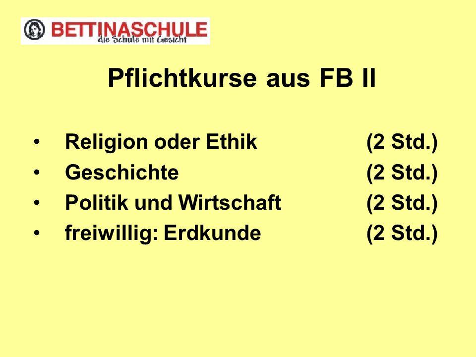 Pflichtkurse aus FB II Religion oder Ethik(2 Std.) Geschichte(2 Std.) Politik und Wirtschaft(2 Std.) freiwillig: Erdkunde(2 Std.)