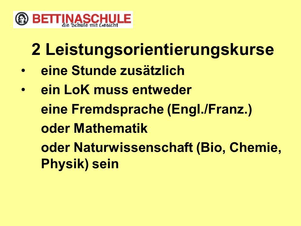 Pflichten: zwei Fremdsprachen ein LoK muss entweder eine Fremdsprache (Engl./Franz.) oder Mathematik oder Naturwissenschaft (Bio, Chemie, Physik) sein als Prüfungsfach im Abitur: durchgängige Belegung ab E1