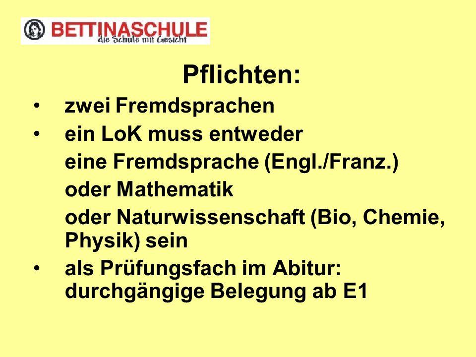 Pflichten: zwei Fremdsprachen ein LoK muss entweder eine Fremdsprache (Engl./Franz.) oder Mathematik oder Naturwissenschaft (Bio, Chemie, Physik) sein