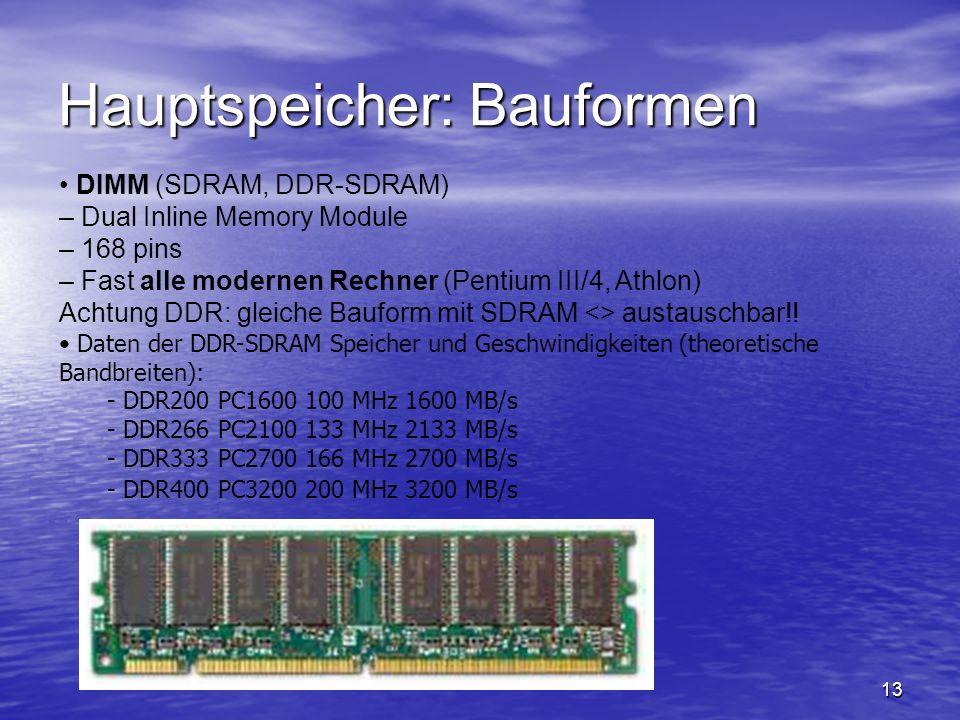 13 Hauptspeicher: Bauformen DIMM (SDRAM, DDR-SDRAM) – Dual Inline Memory Module – 168 pins – Fast alle modernen Rechner (Pentium III/4, Athlon) Achtun