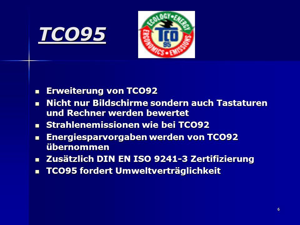 6 TCO95 Erweiterung von TCO92 Erweiterung von TCO92 Nicht nur Bildschirme sondern auch Tastaturen und Rechner werden bewertet Nicht nur Bildschirme so