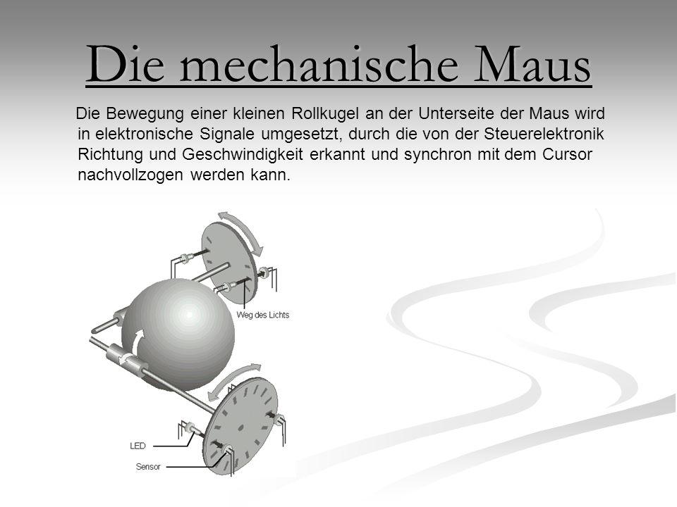 Die mechanische Maus Die Bewegung einer kleinen Rollkugel an der Unterseite der Maus wird in elektronische Signale umgesetzt, durch die von der Steuer