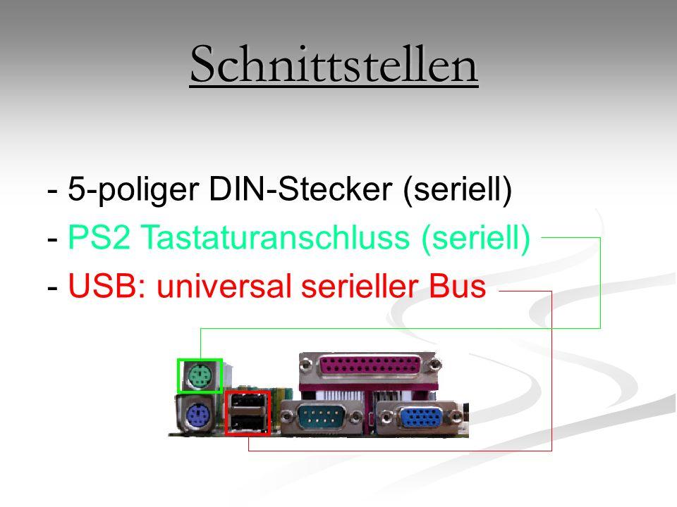 Schnittstellen - 5-poliger DIN-Stecker (seriell) - PS2 Tastaturanschluss (seriell) - USB: universal serieller Bus