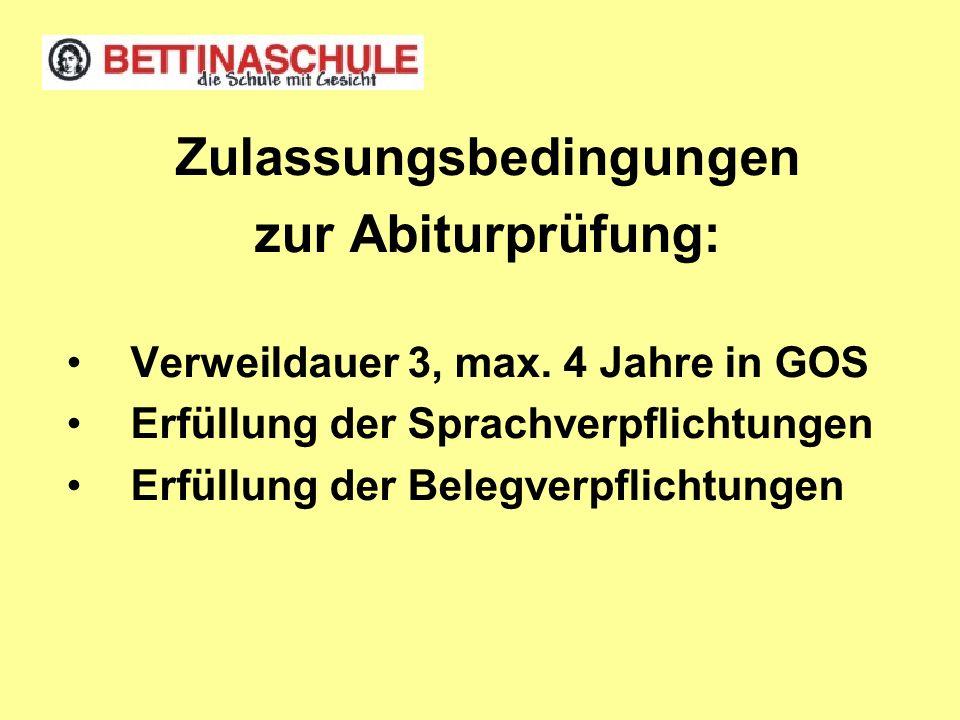 Zulassungsbedingungen zur Abiturprüfung: Verweildauer 3, max. 4 Jahre in GOS Erfüllung der Sprachverpflichtungen Erfüllung der Belegverpflichtungen